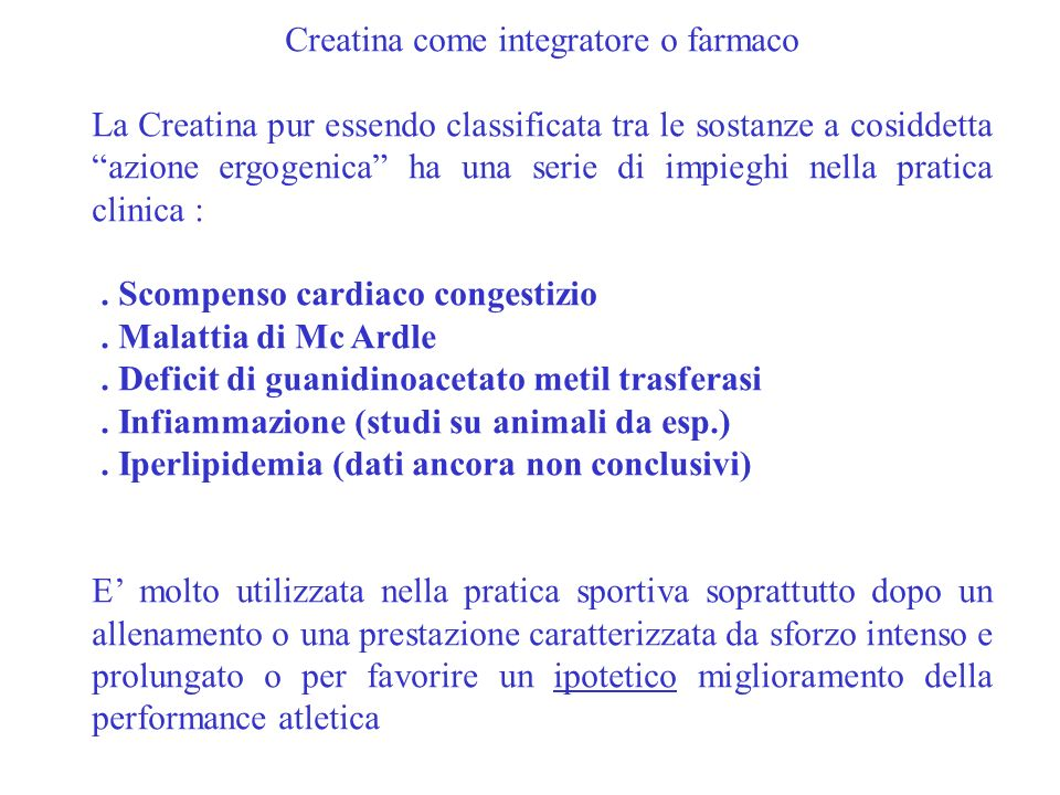 Creatina come integratore o farmaco