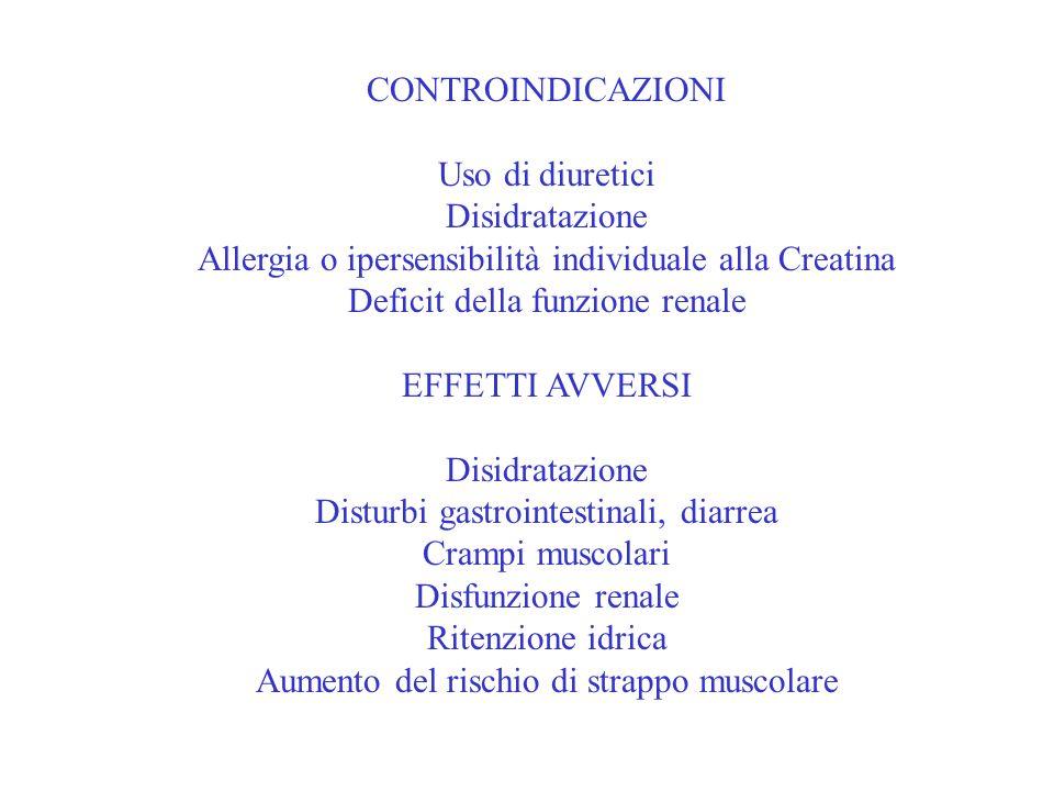 Allergia o ipersensibilità individuale alla Creatina