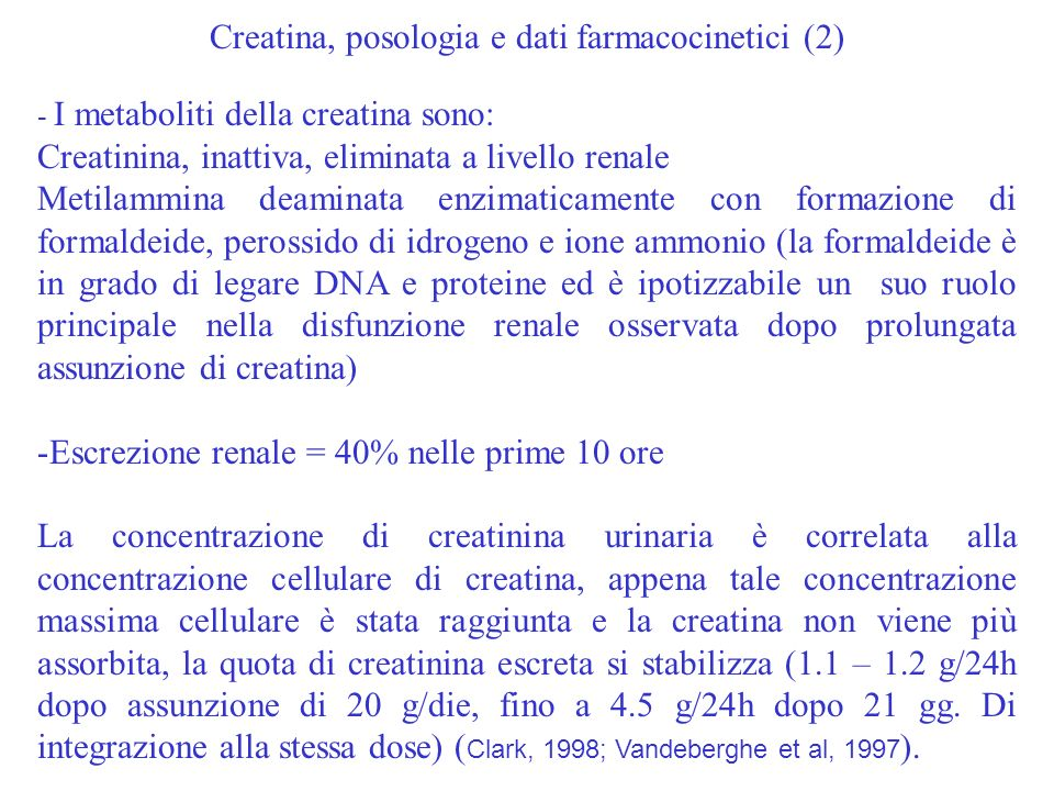 Creatina, posologia e dati farmacocinetici (2)