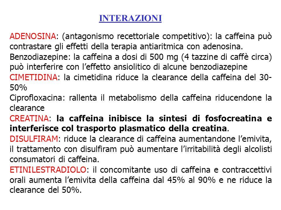 INTERAZIONI ADENOSINA: (antagonismo recettoriale competitivo): la caffeina può contrastare gli effetti della terapia antiaritmica con adenosina.