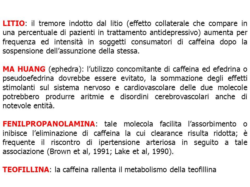 LITIO: il tremore indotto dal litio (effetto collaterale che compare in una percentuale di pazienti in trattamento antidepressivo) aumenta per frequenza ed intensità in soggetti consumatori di caffeina dopo la sospensione dell'assunzione della stessa.