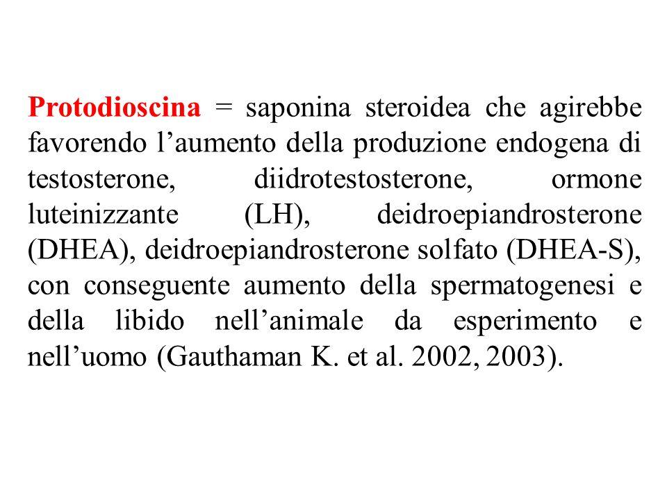 Protodioscina = saponina steroidea che agirebbe favorendo l'aumento della produzione endogena di testosterone, diidrotestosterone, ormone luteinizzante (LH), deidroepiandrosterone (DHEA), deidroepiandrosterone solfato (DHEA-S), con conseguente aumento della spermatogenesi e della libido nell'animale da esperimento e nell'uomo (Gauthaman K.