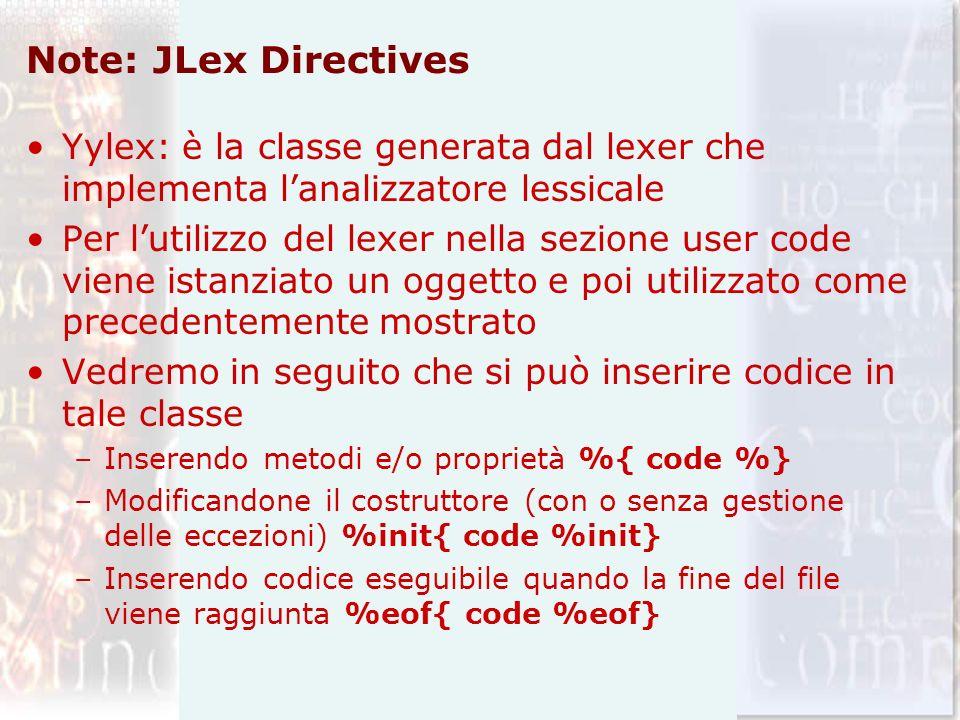 Note: JLex Directives Yylex: è la classe generata dal lexer che implementa l'analizzatore lessicale.
