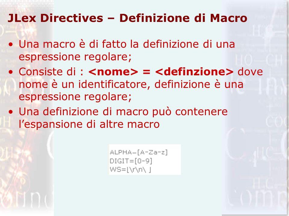 JLex Directives – Definizione di Macro