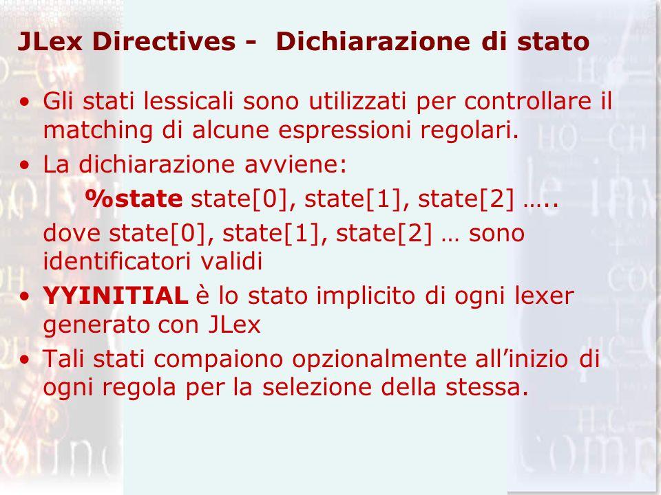 JLex Directives - Dichiarazione di stato