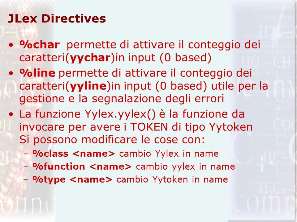 JLex Directives %char permette di attivare il conteggio dei caratteri(yychar)in input (0 based)