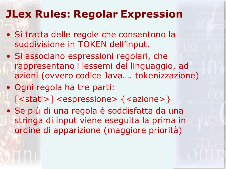 JLex Rules: Regolar Expression
