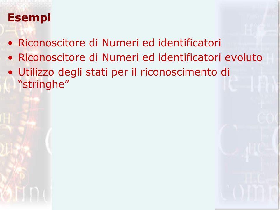 Esempi Riconoscitore di Numeri ed identificatori