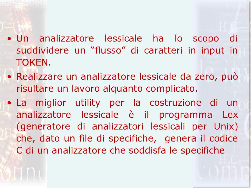 Un analizzatore lessicale ha lo scopo di suddividere un flusso di caratteri in input in TOKEN.