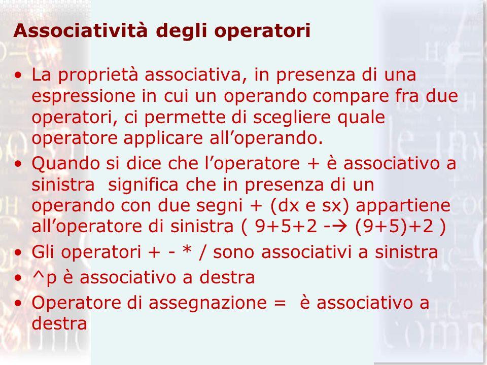 Associatività degli operatori