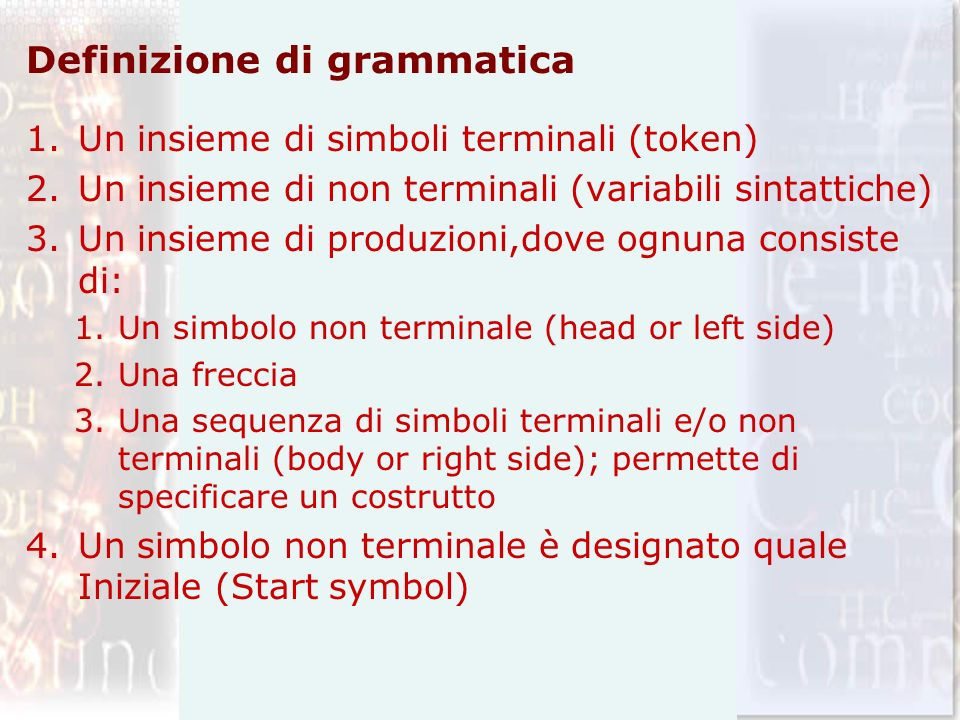 Definizione di grammatica