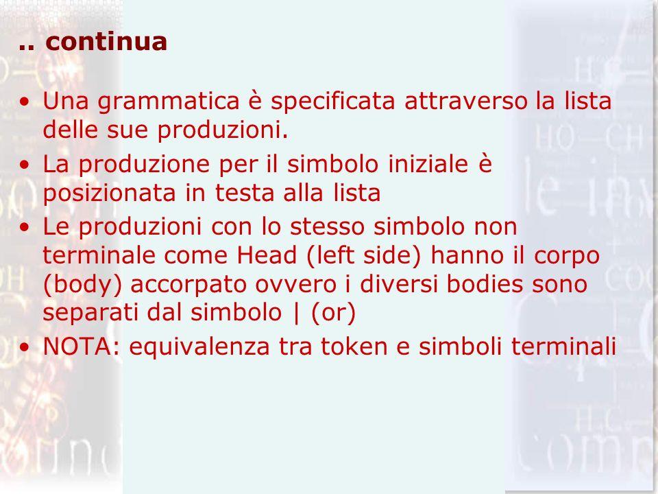 .. continua Una grammatica è specificata attraverso la lista delle sue produzioni.