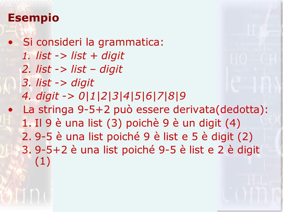 Esempio Si consideri la grammatica: list -> list – digit