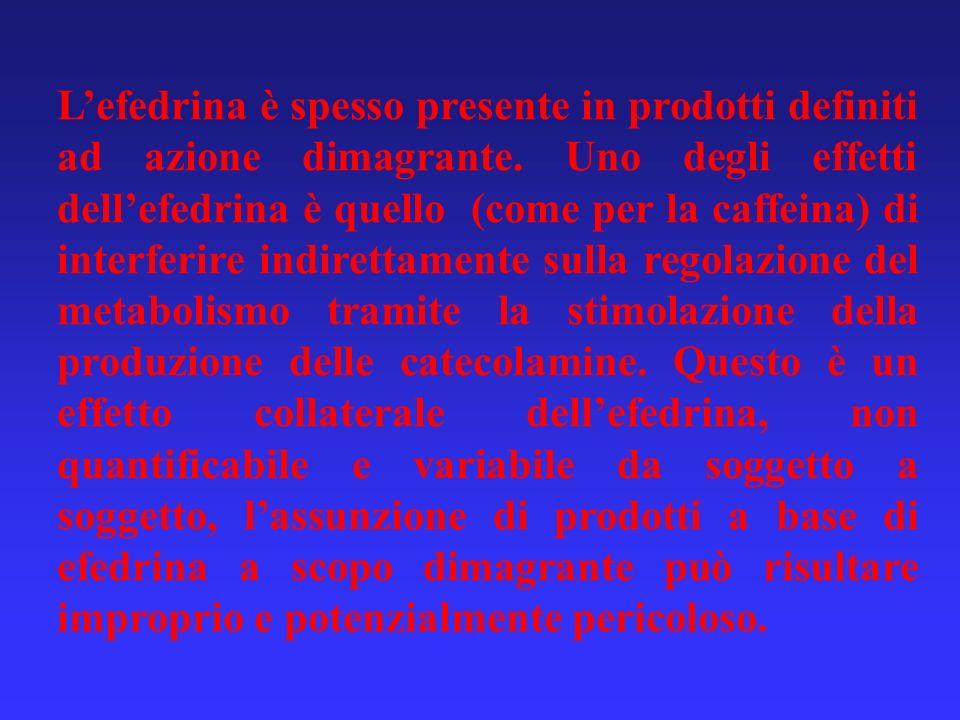 L'efedrina è spesso presente in prodotti definiti ad azione dimagrante