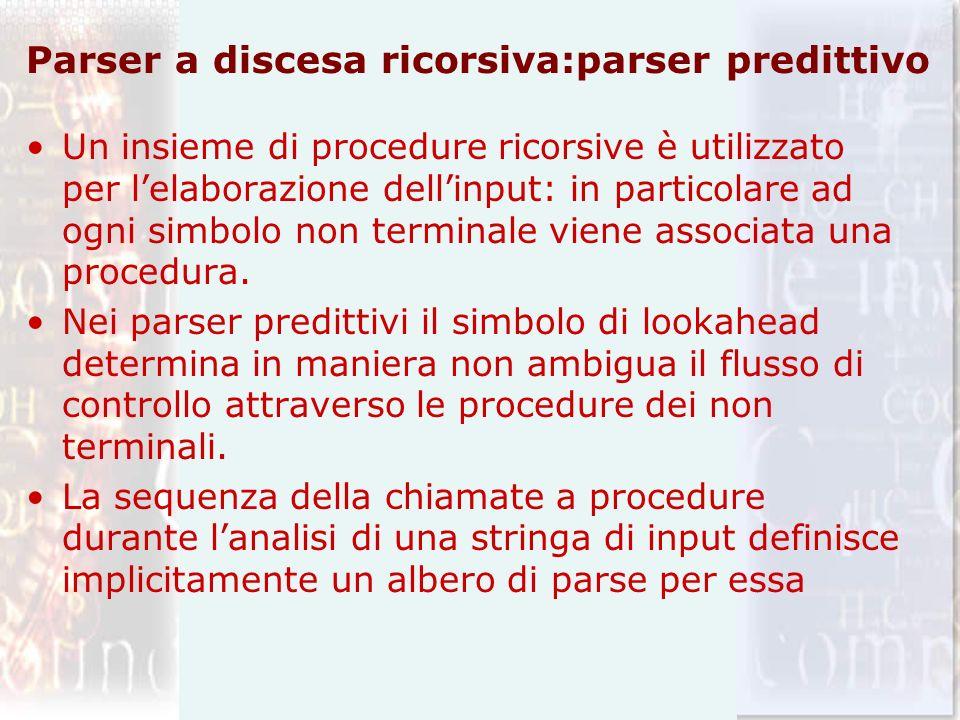 Parser a discesa ricorsiva:parser predittivo