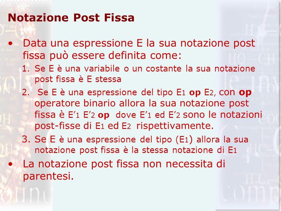 Notazione Post Fissa Data una espressione E la sua notazione post fissa può essere definita come: