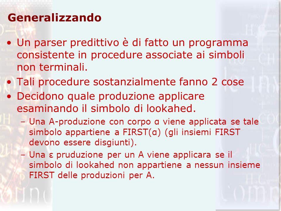 Generalizzando Un parser predittivo è di fatto un programma consistente in procedure associate ai simboli non terminali.