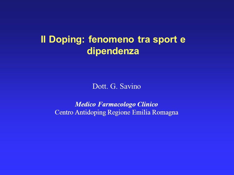 Il Doping: fenomeno tra sport e dipendenza Medico Farmacologo Clinico