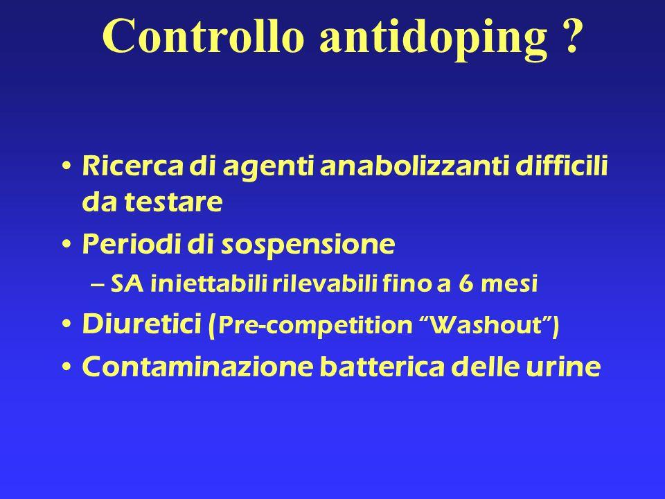 Controllo antidoping Ricerca di agenti anabolizzanti difficili da testare. Periodi di sospensione.