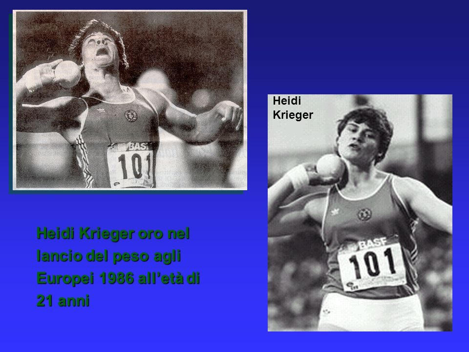 Heidi Krieger oro nel lancio del peso agli Europei 1986 all'età di