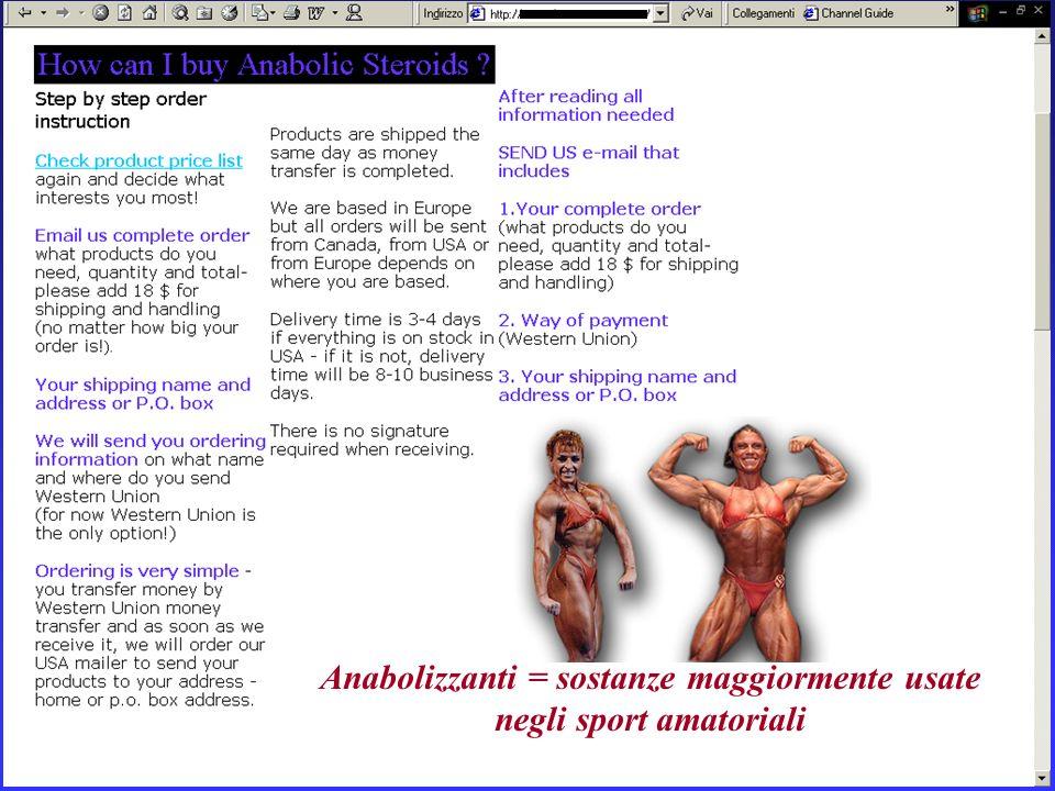 Anabolizzanti = sostanze maggiormente usate negli sport amatoriali