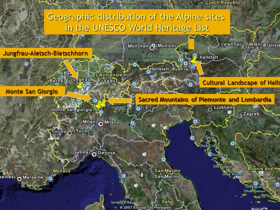Geographic distribution of the Alpine sites