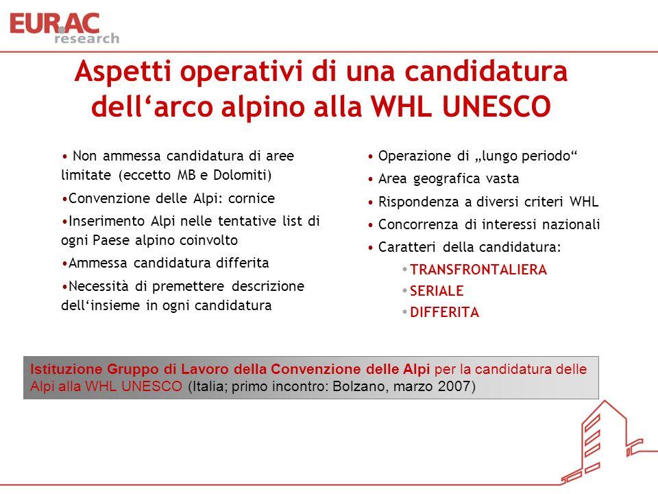 Aspetti operativi di una candidatura dell'arco alpino alla WHL UNESCO