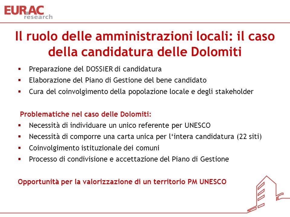 Il ruolo delle amministrazioni locali: il caso della candidatura delle Dolomiti