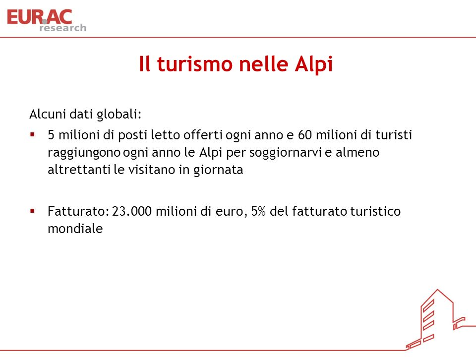 Il turismo nelle Alpi Alcuni dati globali: