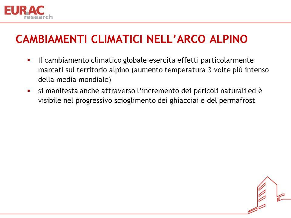CAMBIAMENTI CLIMATICI NELL'ARCO ALPINO