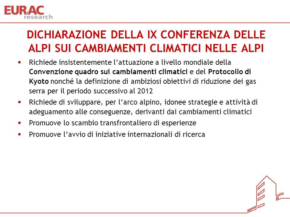DICHIARAZIONE DELLA IX CONFERENZA DELLE ALPI SUI CAMBIAMENTI CLIMATICI NELLE ALPI