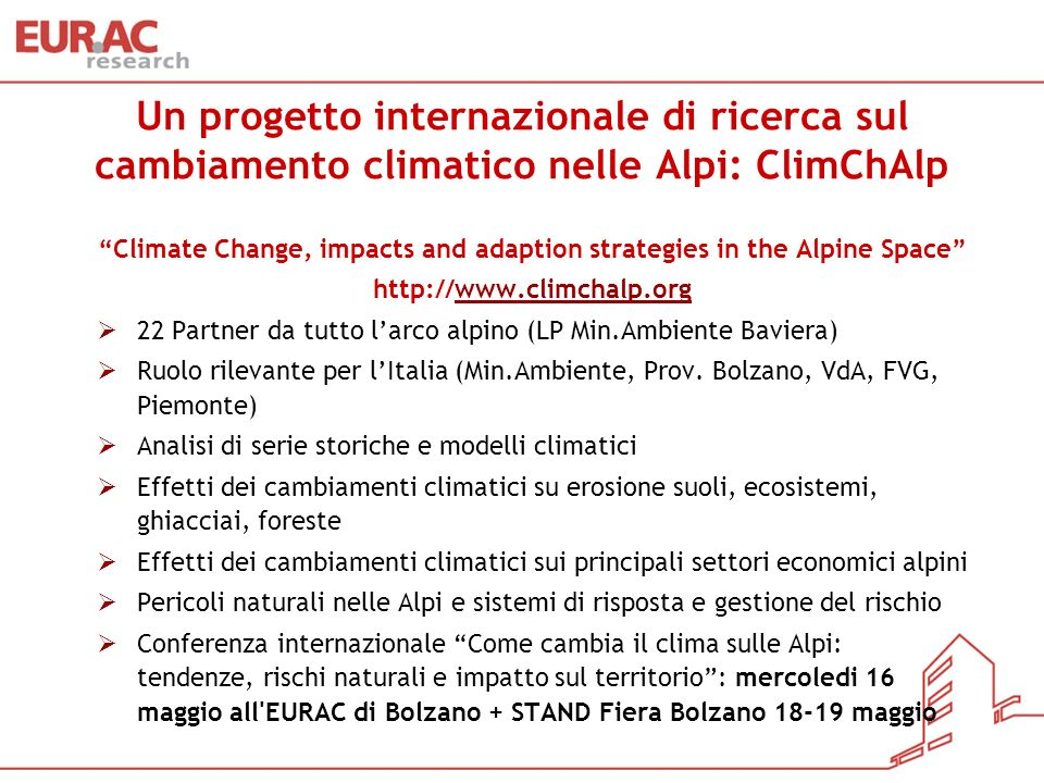Climate Change, impacts and adaption strategies in the Alpine Space