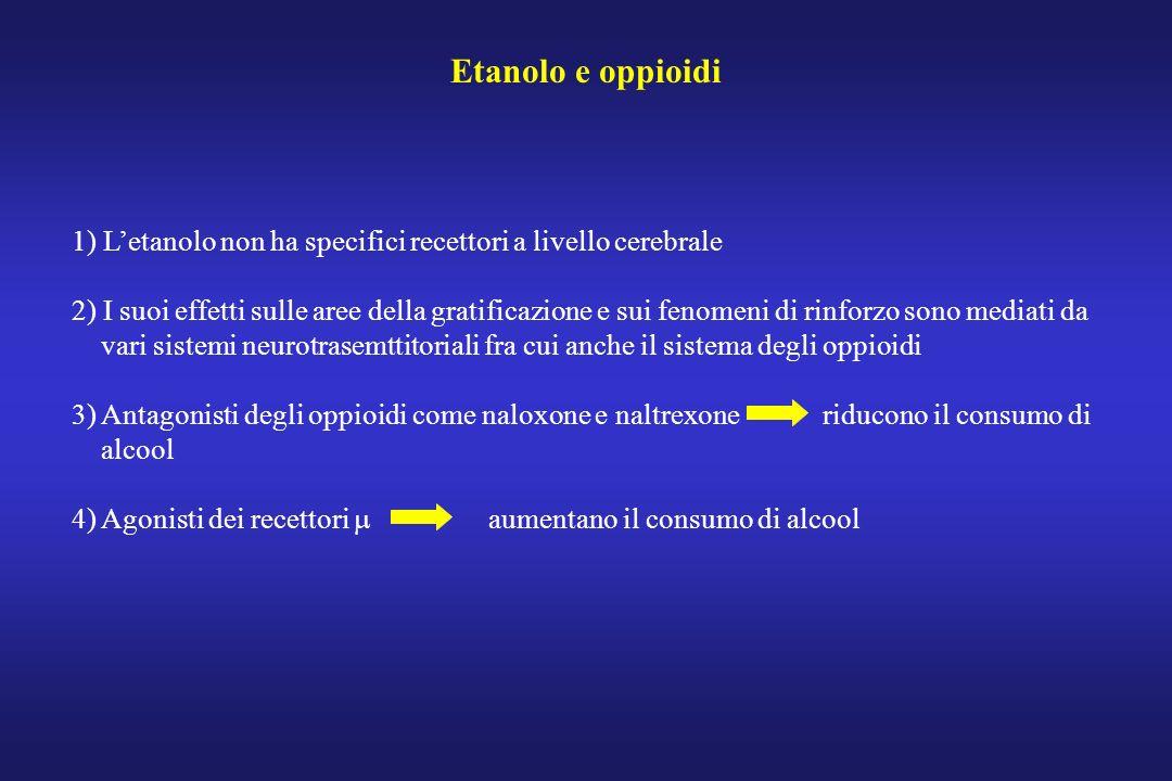Etanolo e oppioidi 1) L'etanolo non ha specifici recettori a livello cerebrale.