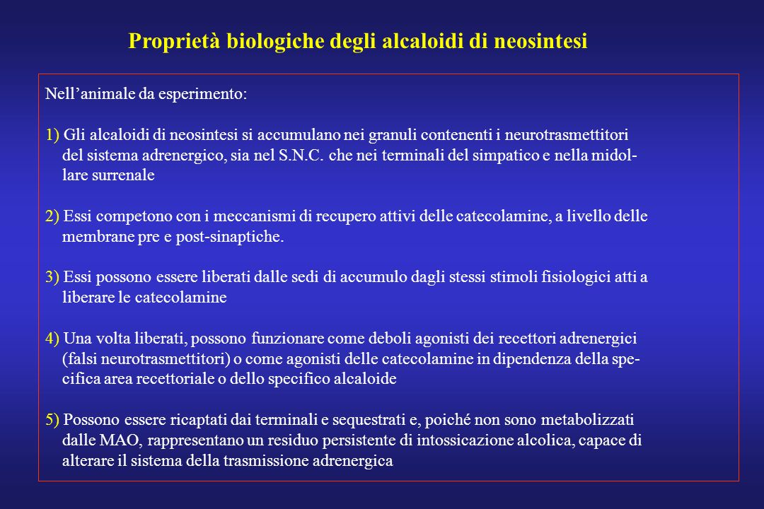 Proprietà biologiche degli alcaloidi di neosintesi