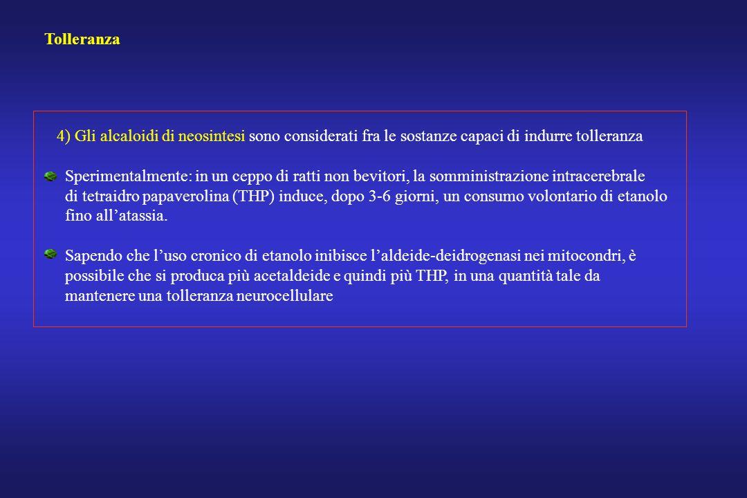 Tolleranza 4) Gli alcaloidi di neosintesi sono considerati fra le sostanze capaci di indurre tolleranza.