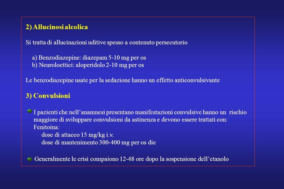 2) Allucinosi alcolica 3) Convulsioni