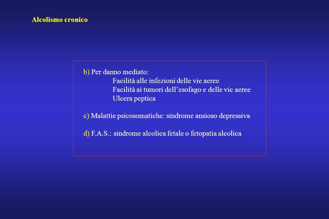 Alcolismo cronico b) Per danno mediato: Facilità alle infezioni delle vie aeree. Facilità ai tumori dell'esofago e delle vie aeree.