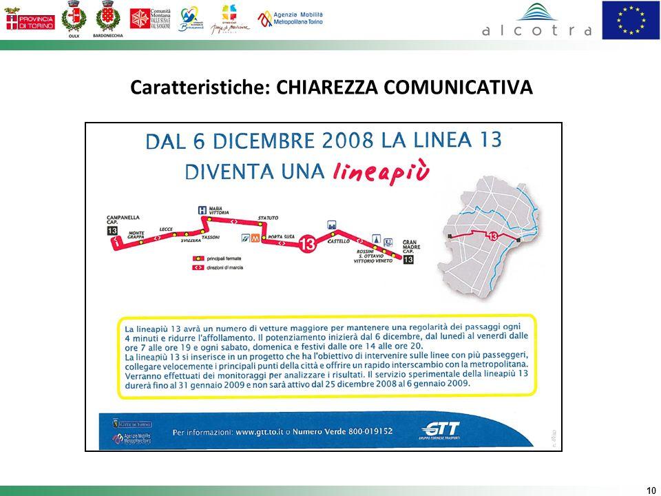 Caratteristiche: CHIAREZZA COMUNICATIVA