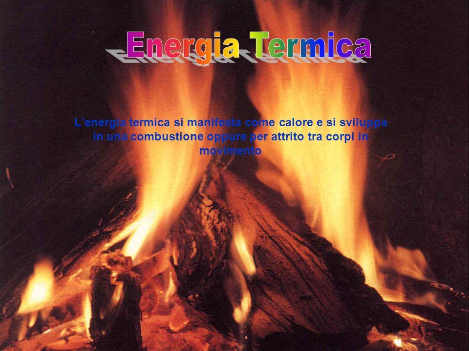 Energia Termica L'energia termica si manifesta come calore e si sviluppa in una combustione oppure per attrito tra corpi in movimento.