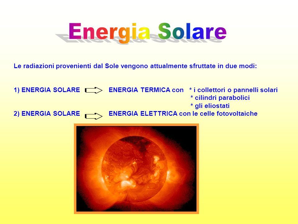 Energia Solare Le radiazioni provenienti dal Sole vengono attualmente sfruttate in due modi: