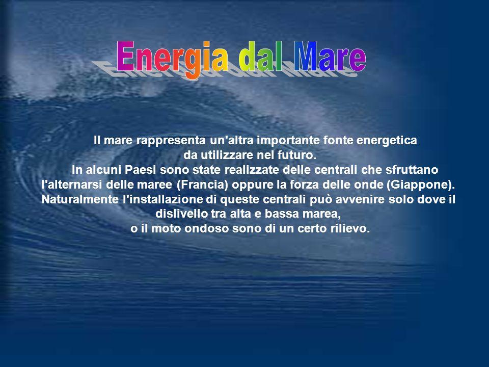 Energia dal Mare Il mare rappresenta un altra importante fonte energetica. da utilizzare nel futuro.