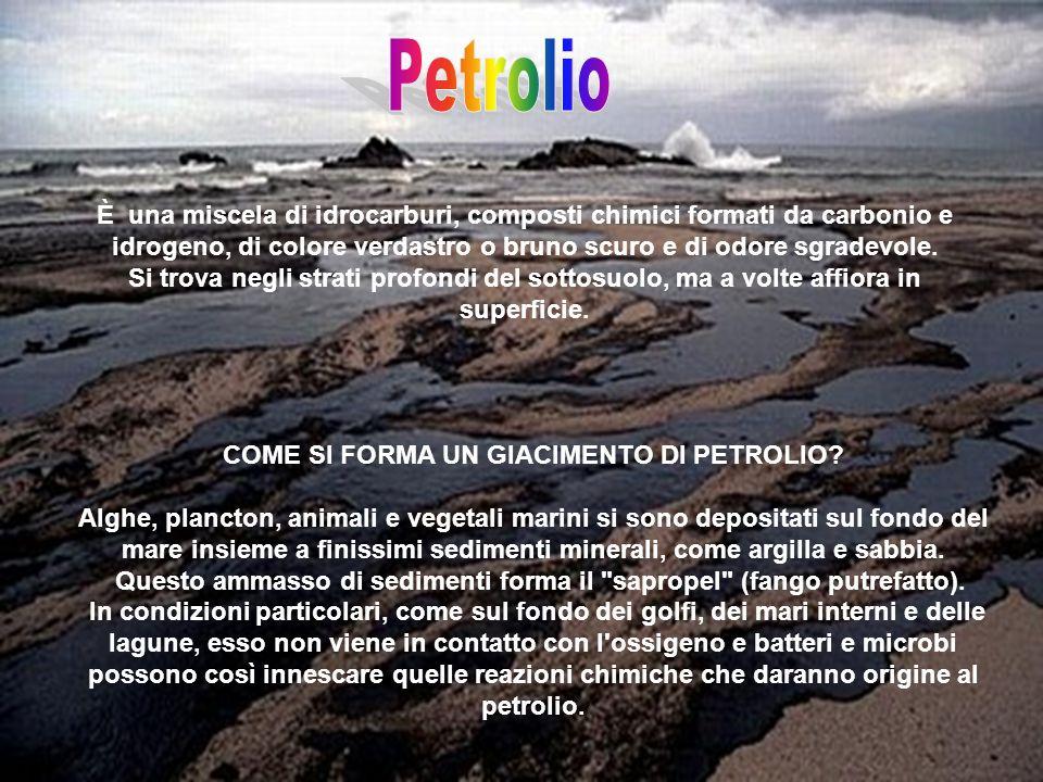 Petrolio È una miscela di idrocarburi, composti chimici formati da carbonio e idrogeno, di colore verdastro o bruno scuro e di odore sgradevole.