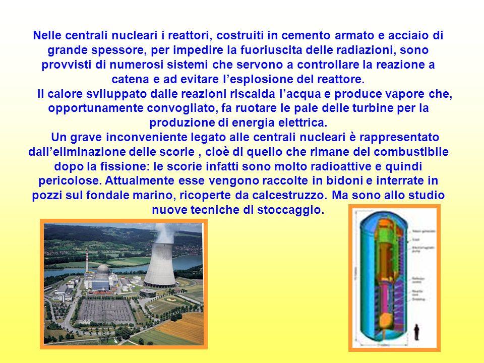 Nelle centrali nucleari i reattori, costruiti in cemento armato e acciaio di grande spessore, per impedire la fuoriuscita delle radiazioni, sono provvisti di numerosi sistemi che servono a controllare la reazione a catena e ad evitare l'esplosione del reattore.