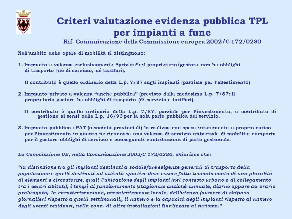 Criteri valutazione evidenza pubblica TPL per impianti a fune Rif