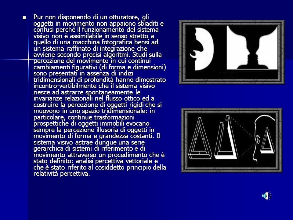Pur non disponendo di un otturatore, gli oggetti in movimento non appaiono sbiaditi e confusi perché il funzionamento del sistema visivo non è assimilabile in senso stretto a quello di una macchina fotografica bensì ad un sistema raffinato di integrazione che avviene secondo precisi algoritmi. Studi sulla percezione del movimento in cui continui cambiamenti figurativi (di forma e dimensioni) sono presentati in assenza di indizi tridimensionali di profondità hanno dimostrato incontro-vertibilmente che il sistema visivo riesce ad astrarre spontaneamente le invarianze relazionali nel flusso ottico ed a costruire la percezione di oggetti rigidi che si muovono in uno spazio tridimensionale: in particolare, continue trasformazioni prospettiche di oggetti immobili evocano sempre la percezione illusoria di oggetti in movimento di forma e grandezza costanti. Il sistema visivo astrae dunque una serie gerarchica di sistemi di riferimento e di movimento attraverso un procedimento che è stato definito: analisi percettiva vettoriale e che è stato riferito al cosiddetto principio della relatività percettiva.