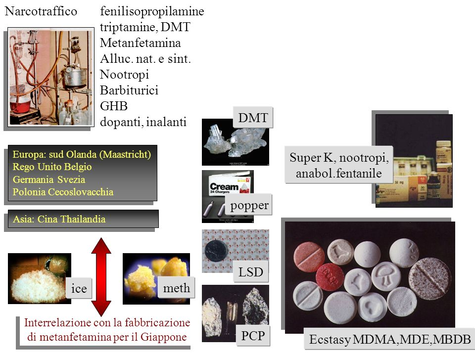 Narcotraffico fenilisopropilamine triptamine, DMT Metanfetamina