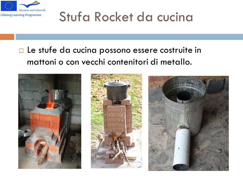 Stufa Rocket da cucina Le stufe da cucina possono essere costruite in mattoni o con vecchi contenitori di metallo.