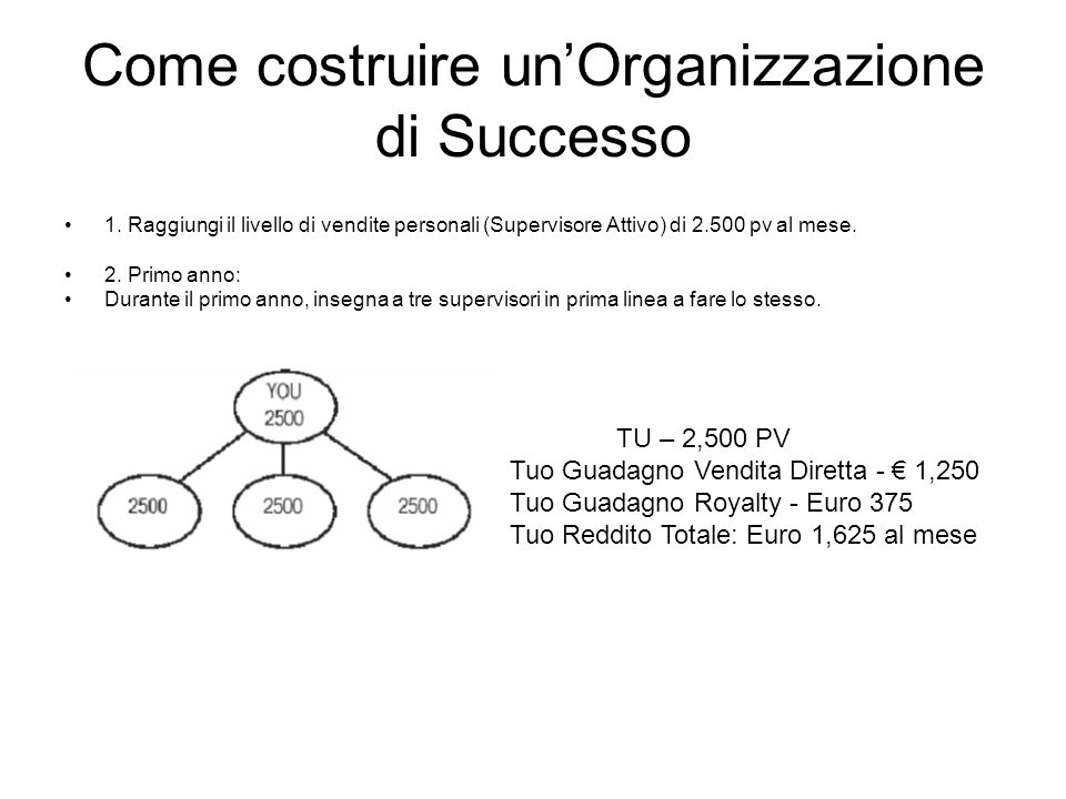 Come costruire un'Organizzazione di Successo