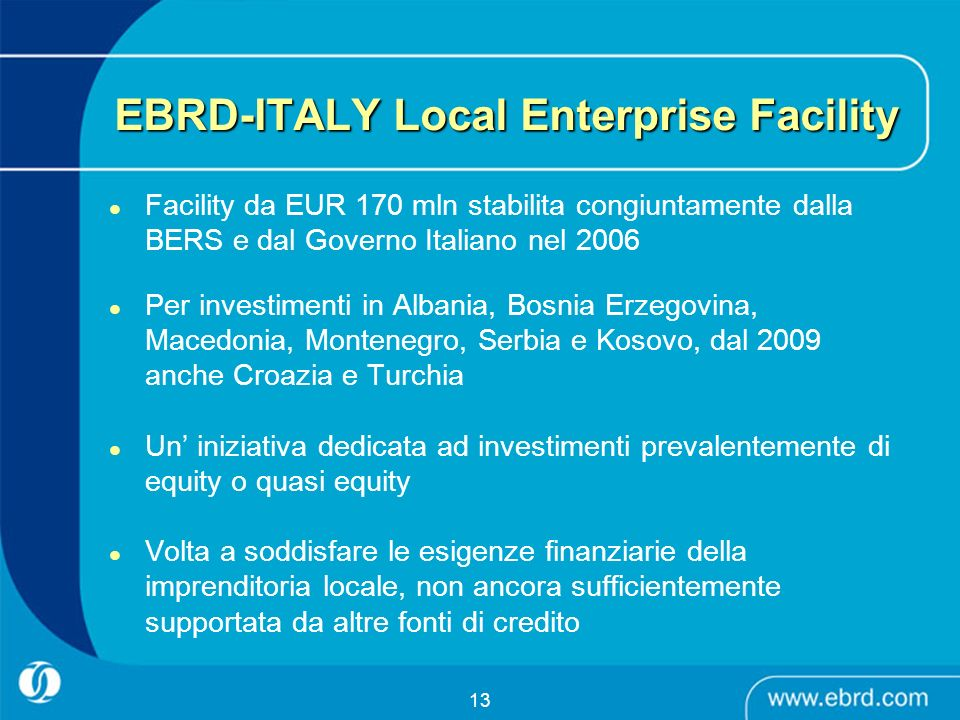 EBRD-ITALY Local Enterprise Facility