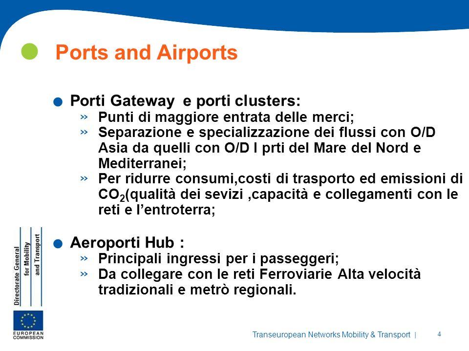 Ports and Airports Porti Gateway e porti clusters: Aeroporti Hub :